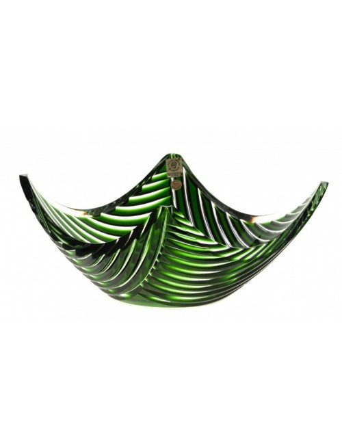 Crystal Bowl Linum, color green, diameter 280 mm