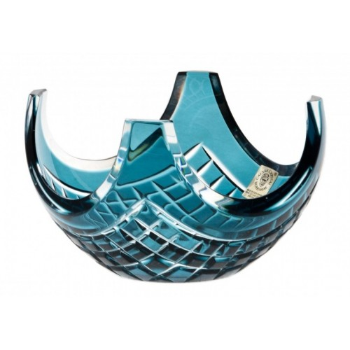 Crystal Bowl Quadrus, color azure, diameter 140 mm