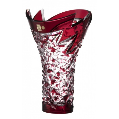 Crystal Vase Neptune, color ruby, height 300 mm