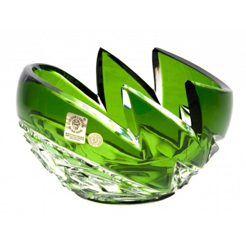 Crystal Bowl Neptune, color green, diameter 140 mm