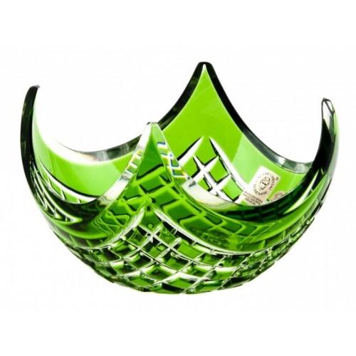 Crystal Bowl Quadrus, color green, diameter 140 mm