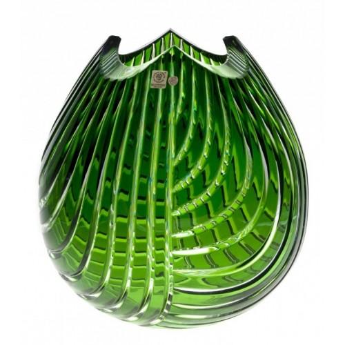 Crystal Vase Linum, color green, height 280 mm
