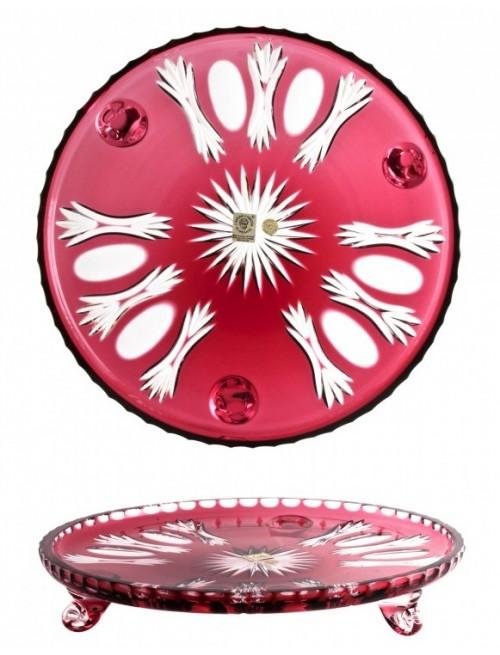 Crystal Plate Dandelion, color ruby, diameter 280 mm