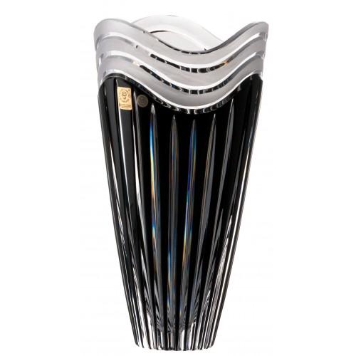 Crystal vase Dune, color black, height 270 mm
