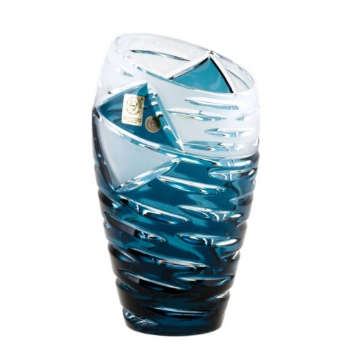 Crystal Vase Mirage, color azure, height 180 mm