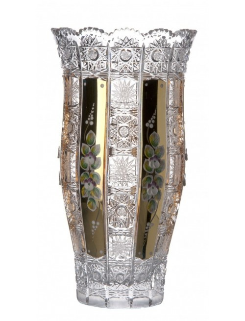 Crystal Vase 500K gold III, color clear crystal, height 305 mm