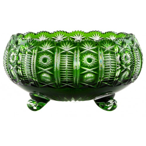 Crystal bowl Kendy, color green, diameter 280 mm