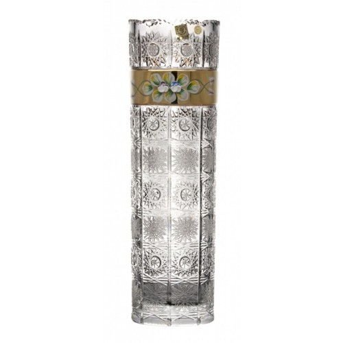 Crystal Vase 500K gold, color clear crystal, height 360 mm