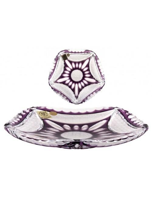 Crystal Plate Ingrid, color violet, diameter 180 mm