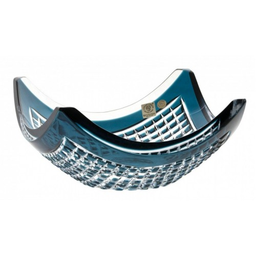 Crystal Bowl Quadrus, color azure, diameter 280 mm