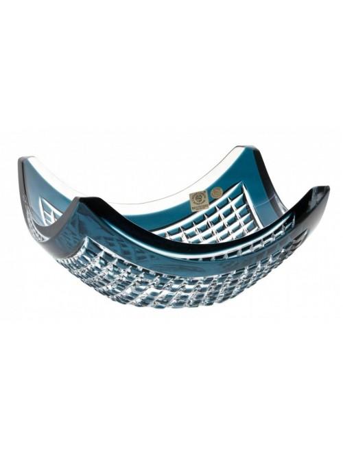 Crystal Bowl Quadrus, color azure, diameter 280 mm
