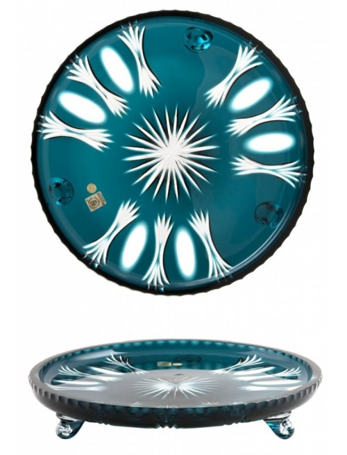 Crystal Plate Dandelion, color azure, diameter 305 mm