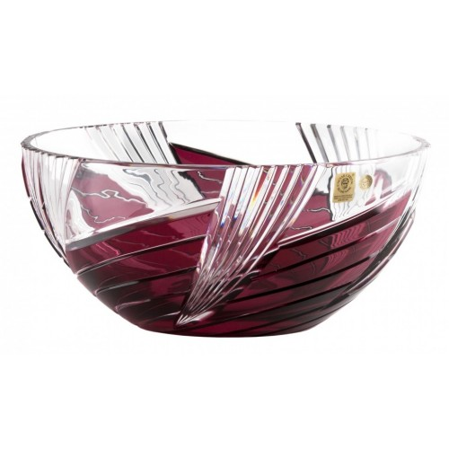 Crystal Bowl Whirl, color ruby, diameter 250 mm