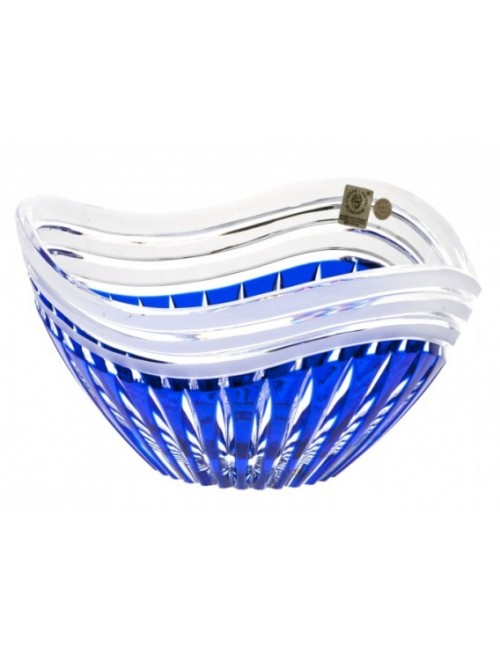 Crystal Bowl Dune, color blue, diameter 210 mm
