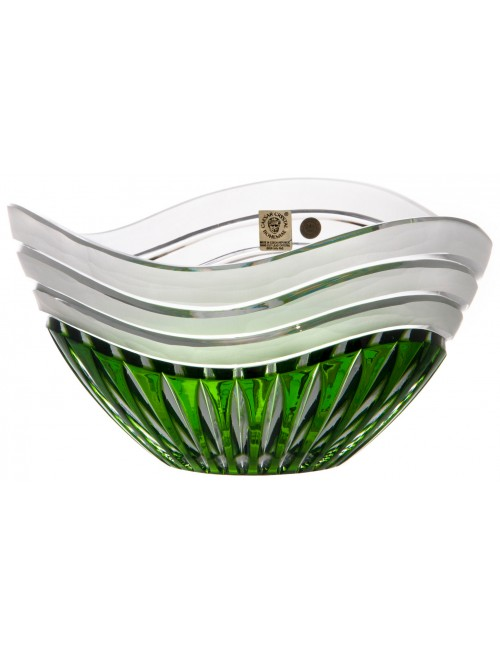 Crystal bowl Dune, color green, diameter 210 mm