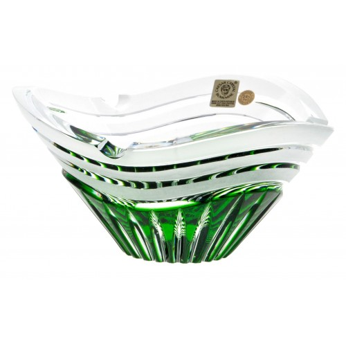 Crystal ashtray Dune, color green, diameter 180 mm