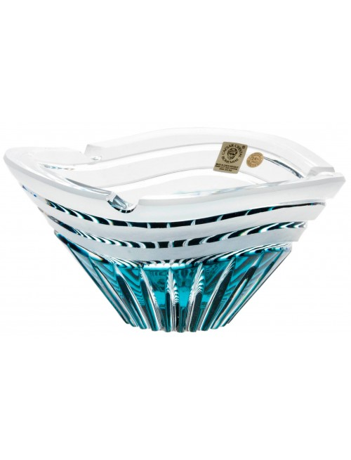 Crystal ashtray Dune, color azure, diameter 180 mm