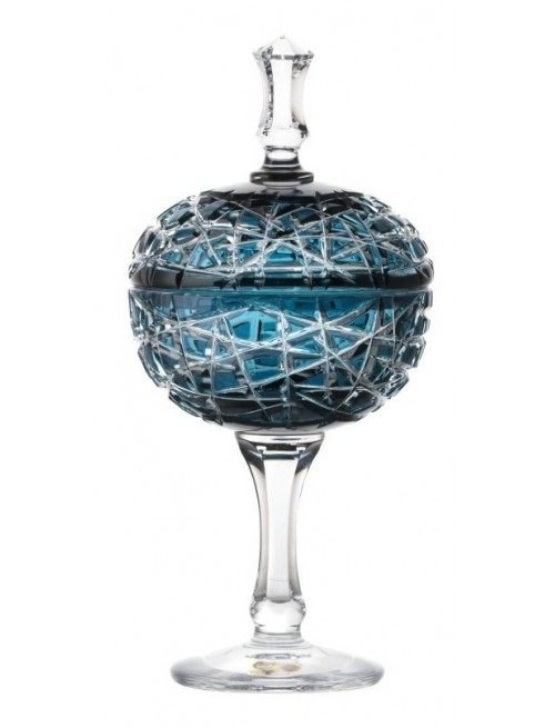 Crystal Cup Taiga, color azure, height 315 mm
