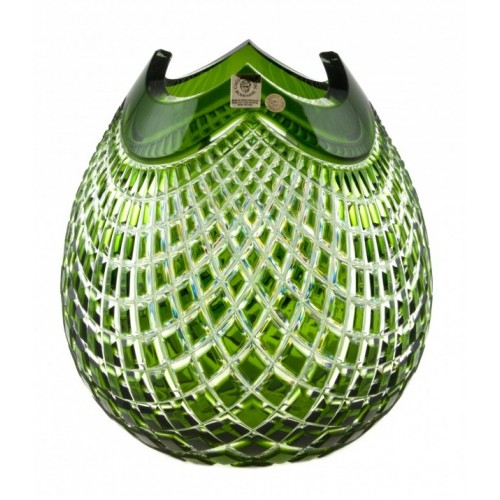 Crystal Vase Quadrus, color green, height 210 mm
