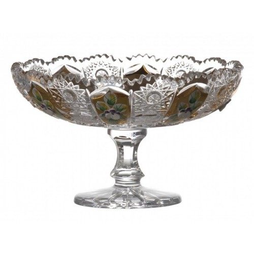 Crystal Footed Bowl 500K gold, color clear crystal, diameter 160 mm