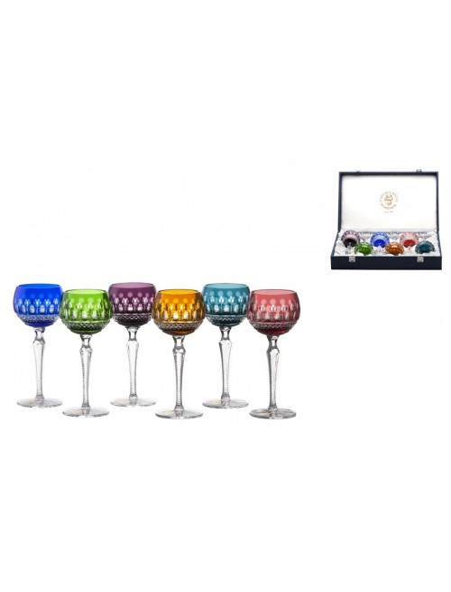 Crystal Set Wine Glass Tomy 190, color mix, volume 190 ml