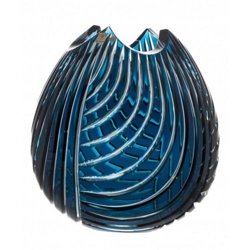 Crystal Vase Linum, color azure, height 280 mm