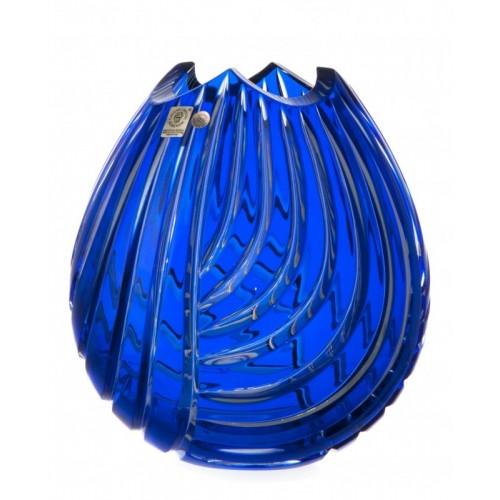 Crystal Vase Linum, color blue, height 210 mm