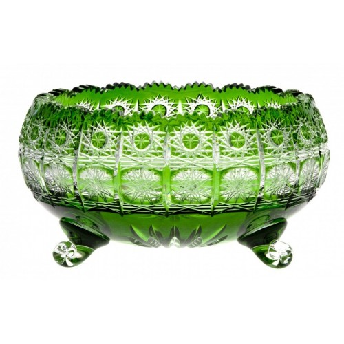 Crystal Bowl Paula, color green, diameter 230 mm