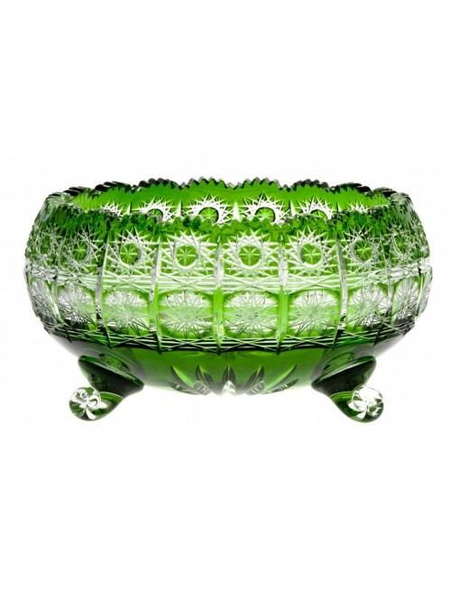 Crystal Bowl Paula, color green, diameter 230 mm