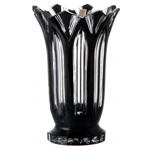 Crystal Vase Lotos, color black, height 255 mm