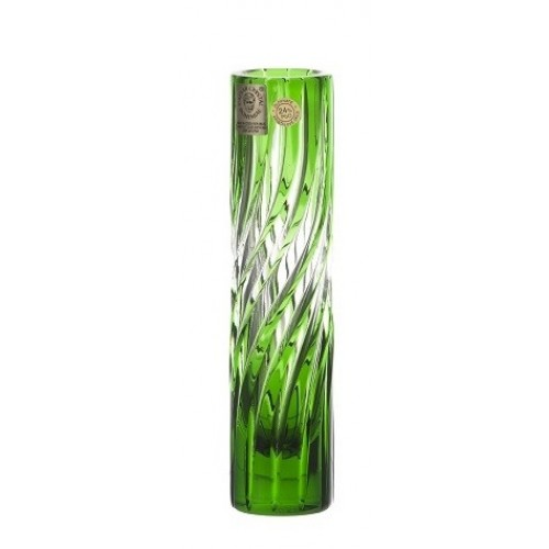 Crystal Vase Zita, color green, height 155 mm