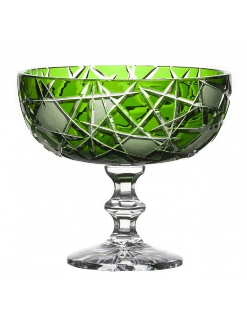 Crystal Footed Bowl Mars, color green, diameter 230 mm