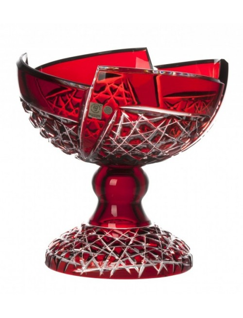 Crystal Footed Bowl Fan, color ruby, diameter 240 mm