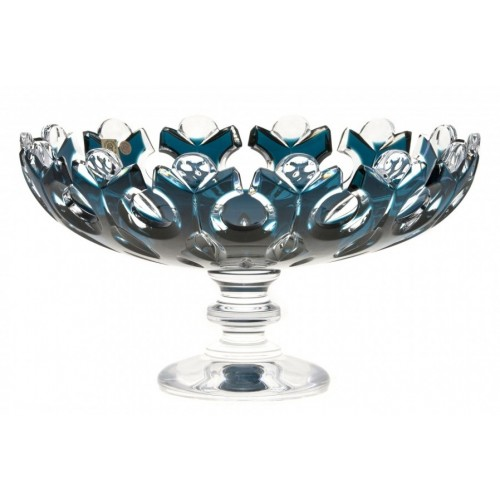Crystal Footed Bowl Flamenco, color azure, diameter 305 mm