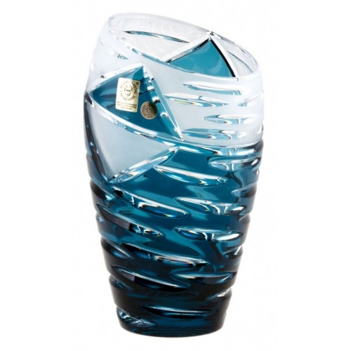 Crystal Vase Mirage, color azure, height 230 mm