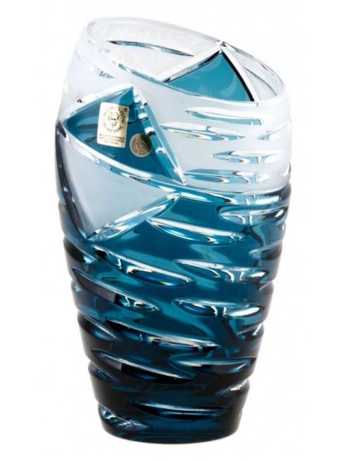 Crystal Vase Mirage, color azure, height 230 mm