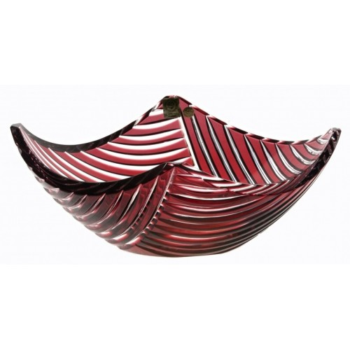 Crystal Bowl Linum, color ruby, diameter 280 mm