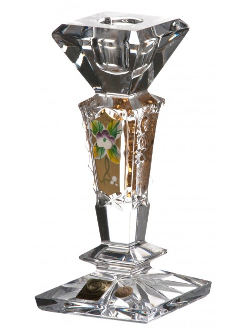 Crystal candlestick 500K Gold, color clear crystal, height 155 mm