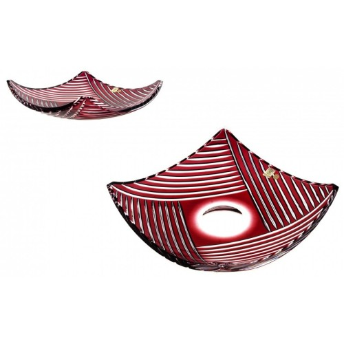 Crystal Bowl Linum, color ruby, diameter 350 mm