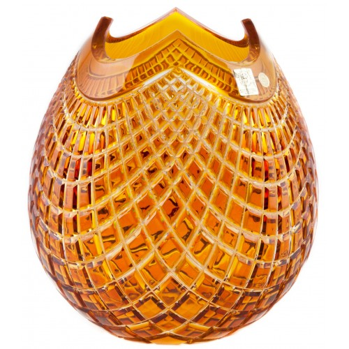 Crystal Vase Quadrus, color amber, height 210 mm