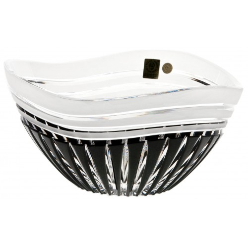 Crystal bowl Dune, color black, diameter 210 mm