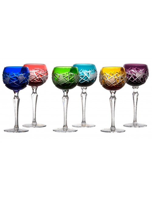 Crystal set wine glass Mars, color mix, volume 190 ml