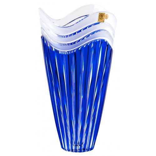 Crystal Vase Dune, color blue, height 270 mm