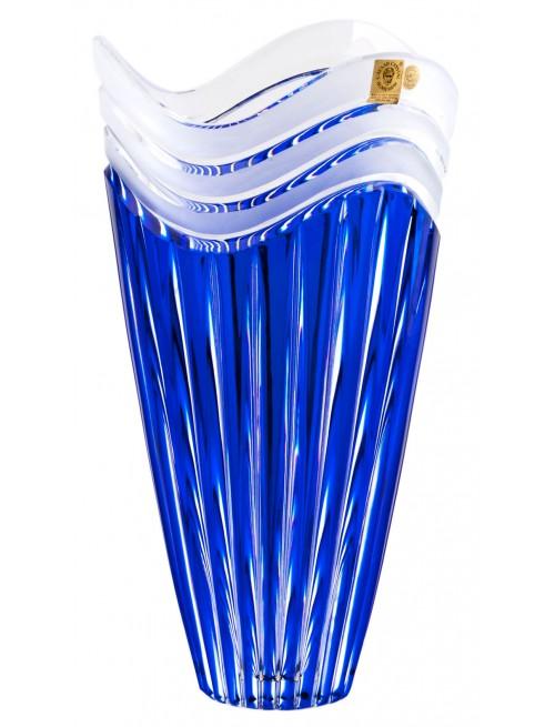 Crystal Vase Dune, color blue, height 270 mm