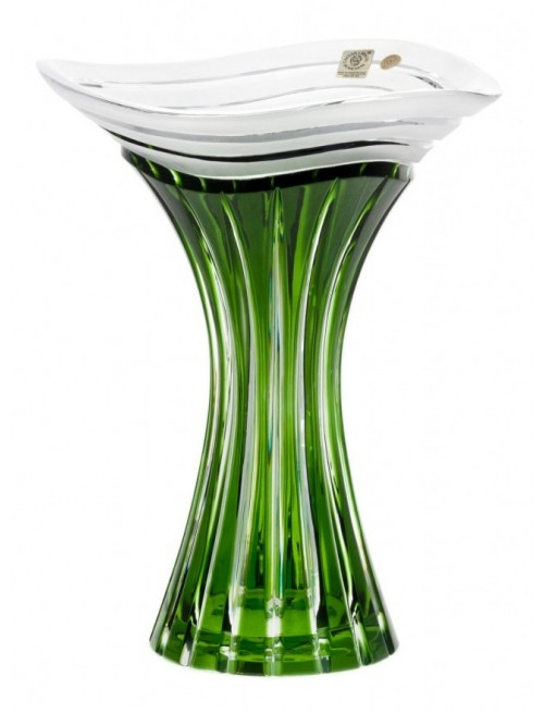 Crystal Vase Dune, color green, height 250 mm