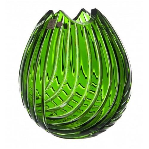 Crystal Vase Linum, color green, height 210 mm