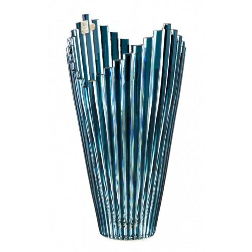 Crystal Vase Mikado, color azure, height 310 mm
