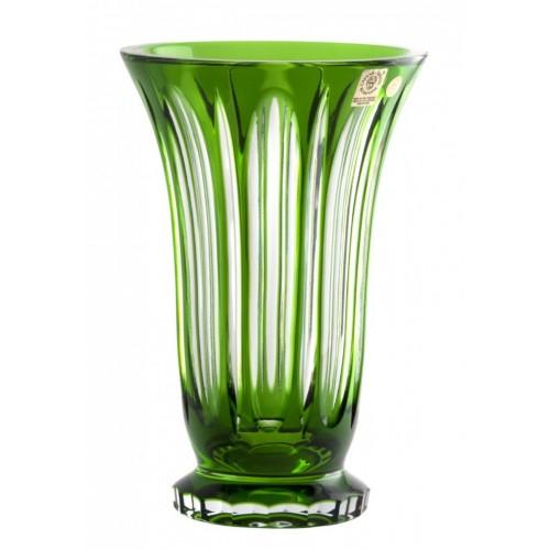 Crystal Vase Visu, color green, height 205 mm