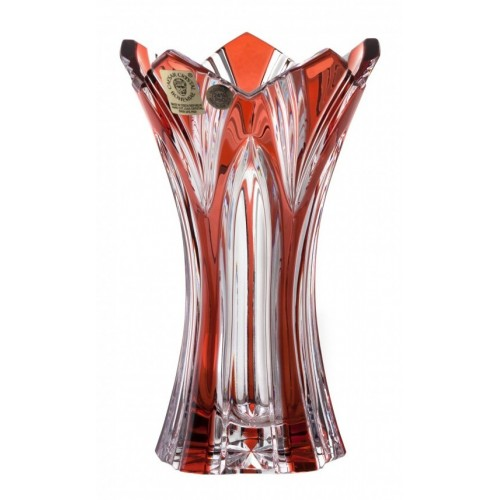Crystal Vase Lotus, color ruby, height 155 mm