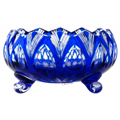 Crystal Bowl Lotos, color blue, diameter 155 mm